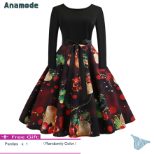 Anamode Women Long Sleeve Midi Dresses Winter Printing Clothing Christmas Dress -Multicolor -