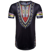 BESSKY Men's Summer Casual African Print O Neck Pullover Short Sleeve T-shirt Top Blouse_