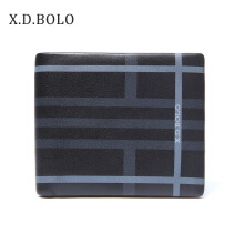 XDBOLO The first layer of leather short wallet creative business leather men's wallet Black