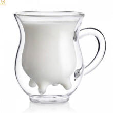 UCHII Double Wall Milk Mug With Handle Cow Shape - Gelas Minum Susu Sapi Gagang