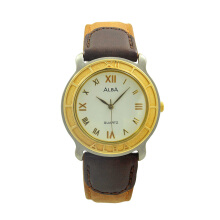 ALBA Jam Tangan Pria - Brown Silver Gold - Leather Strap - ATCS24