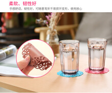 Toko diskon Creative hollow silicone flower-shaped non-slip anti-scalding Insulated tea round coaster color random