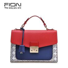 FION Cow Leather Sling Bag - Blue & Red & White Blue
