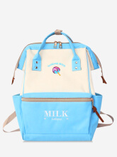 Letter Embroidery Color Block Portable School Backpack