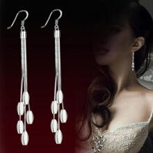 Farfi Women's Fashion Silver Plated Wedding Drops Long Tassel Hook Dangle Earrings