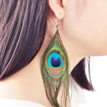 SESIBI 1Pair Vintage Peacock Earraings Exaggerate Ethnic Dangle For Women Fashion Jewelry