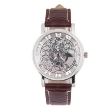 Unique Men Women Lovers Hollow Out Thin Leather Strap Quartz Wrist Watch Silver & Coffee