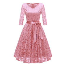 Xi Diao Elegant V-Neck Lace Women Party Dress