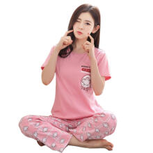 Farfi 2 Pcs Women's Pajamas Set Sweet Cartoon Monkey Short Sleeve O Neck Sleepwear