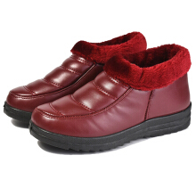 Zanzea 0051Warm Ankle Snow Boots Faux Fur Lining Round Toe Shoes  Red