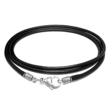 SESIBI 1PC Simple Style Weave Flax Wax Rope Chain Fashion Man Black Necklace -