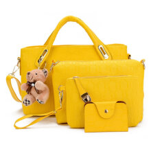 [LESHP]4pcs/Set Composite Bag PU Leather Handbag Messenger Wallet With Bear Doll Yellow