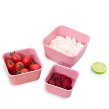 JDwonderfulhouse Wheat Straw 3 In 1 Fresh-keeping Box Environmental Protection Students Bento Lunch Box Pink