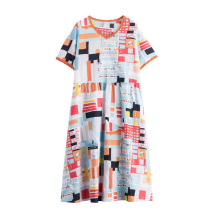 INMAN 1882102760 Dress Orange Multi Color Design V Neck Linen Material Women Summer Dress