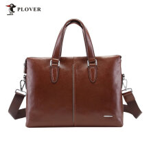 [COZIME] PLOVER Men Business Stitching Portable Genuine Leather Bag Casual Briefcase Brown