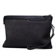 AIM S011 Simple large-capacity clutch bag leather envelope bag male hand bag holder bag-Black