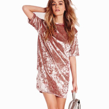 Jantens 2018 spring and summer velvet dress women short-sleeved casual mini dress solid color