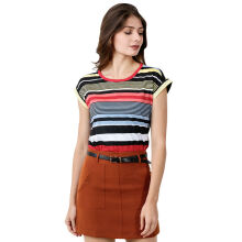 FACTORY OUTLET LO1709-0005 Women T-Shirt SS - 12G1 Yellow Stripe