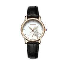 Quartz watches Men's Watch Water Resistant Rhinestone Quartz Watch with Leather Band&Star Decor for Women Hitam