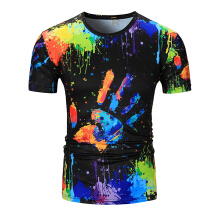 Fashionmall Short Sleeve 3D colorful Print Paint T shirts