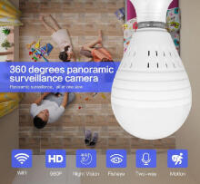 Bellylady Bulb Lamp Wireless IP Camera Wifi 960P Panoramic FishEye Home Security CCTV Camera 360 Degree Night Vision Camera:1.3 million single light source white light