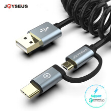 JOYSEUS 2 in 1 Coiled Data Cable 1.2m Mirco USB & Type-C Fast Charging Cable Gold