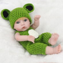 [COZIME] 28cm Baby Doll Yellow Hair Eco-friendly Silicone Boy Doll With Frog Bodysuit Skin Color&Green