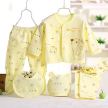 [COZIME] 5 Pcs Newborn Baby Boy Girl Long sleeve Tops Hat + Pants + Bib Suit Outfit Set Yellow  one size