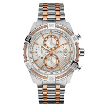 Guess U0522G4 Men Chronograph White Pattern Dial Tachymeter Stainless Steel Watch [U0522G4]