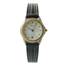 ALBA Jam Tangan Wanita - Black Silver Gold - Leather Strap - AXTG20
