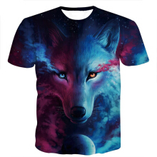 SESIBI M~3XL 3D Printed T-shirts Men Short Sleeve Blouse Hipster Costume Boys Tops -Moon Wolf -