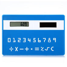 Shengmeiid 1PC Mini Slim Credit Card Pattern Solar Power Pocket Calculator BLUE