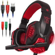Tmax Deep Bass Gaming Headphone Over-Ear Gamer Headset Headband with MIC Stereo Earphone with Light for Computer PC Gamer