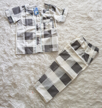 Cottongrass Motif Kotak Anak Black Grey