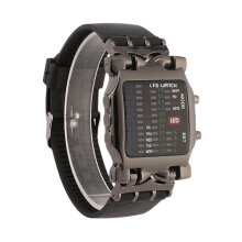 [COZIME] New Unisex Square Style Cool Colorful LED Digital Watch Binary Wrist Black Black1