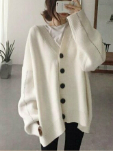 Zanzea 0051Casual Women Loose Batwing Sleeve Sweater Cardigans Gray One Size