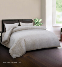 KING RABBIT Bedcover Single Motif Brooks Squer  - Abu/ 140 x 230cm Grey