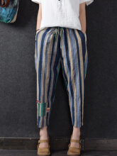 Casual Striped Elastic Waist Drawstring Pants For Women  Blue One Size