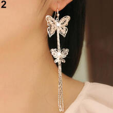 Farfi Women's Double Layers Butterfly Long Tassels Rhinestone Hook Linear Earrings