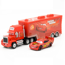 Jantens 2 Toys 2pcs Lightning McQueen Mack Truck The King 1:55 Diecast Metal Alloy Modle Red