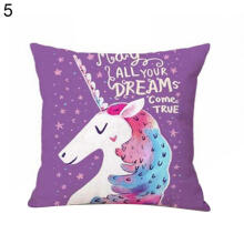 Farfi Cartoon Unicorn Print Pillow Case Bed Sofa Waist Cushion Cover Car Home Decor