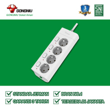 Gongniu Stop Kontak 4 lubang 4 on/off kabel 3Meter