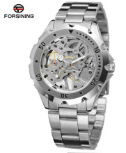 FORSINING Fashion Mechanical Watch Men Stainless Steel Strap Skeleton Dial Top Brand Luxury Wrist Watches