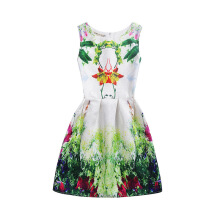 SESIBI Size 130~160Girls Dresses Children Summer Dress Princess Costume Teens Fashion Printing Wear - Charms Landscape Painting-