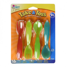 The First Years Take & Toss Toddler Fork and Spoon - 16 Pack