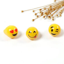 [OUTAD] Emoji Smile Face Lighting Toy LED Color Flash Latex Ring For Party Kid Gift Yellow