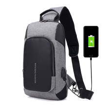 DXYIZU fashion men's chest bag USB charging multi-function shoulder bag