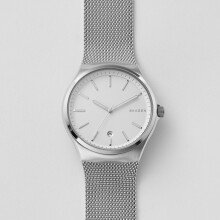 Skagen Sundby - Silver Round Dial 42mm - Stainless Steel - Silver Mesh - Jam Tangan Pria - SKW6262 - SL