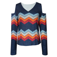 BESSKY Women V Neck Long Sleeve Solid Striped Blouse Pullover Casual Tops Shirt_