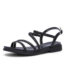 AOKANG 2018 Summer shoes woman fashion crystal women sandals flat comfortable women shoes black